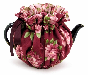 Wrap Around Tea Cozy 6 Cup Burgundy Rose