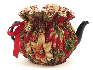 Wrap Around Tea Cozy 6 Cup Holiday Elegance Ruby