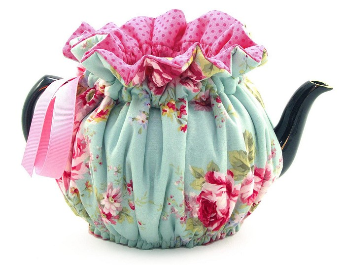 Wrap Around Tea Cozy 4 Cup English Rose Blue